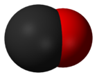 Space-filling model of the carbon monoxide molecule