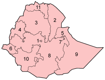 The regions and chartered cities of Ethiopia, numbered alphabetically.