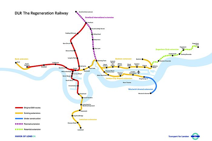 Mapa geográfico del Docklands Light Railway.